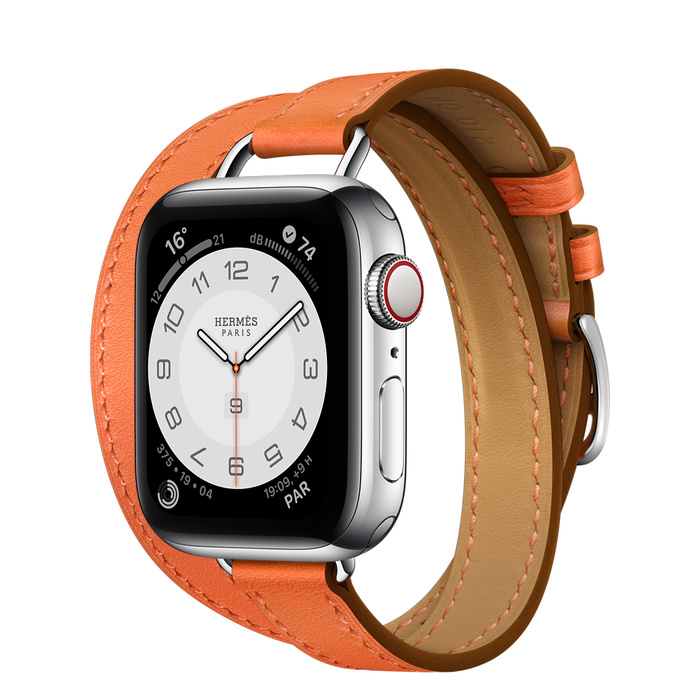 Apple Watch Hermes Series 6 40mm Stainless Steel GPS + Cellular Orange Attelage with Double Tour