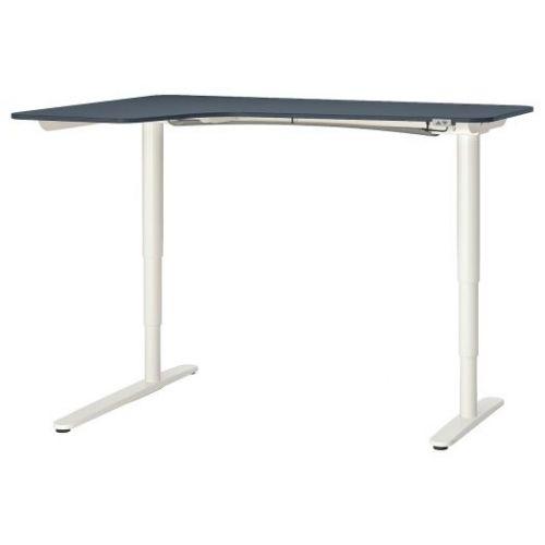 BEKANT БЕКАНТ, Углов письм стол лев/трансф, линолеум синий/белый, 160x110 см - 092.823.16