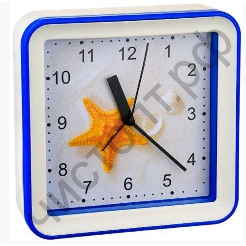 """Часы -будильник настол. Perfeo Quartz """"PF-TC-010"""", квадратные 14,8*14,8 см, подвес на стену, звезда"""