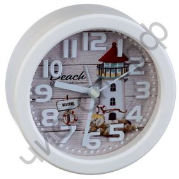 "Часы -будильник настол. Perfeo Quartz ""PF-TC-013"", круглые диам. 10,5 см, маяк"