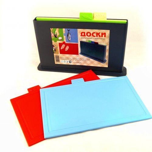 Доски разделочные с подставкой набор 4 шт