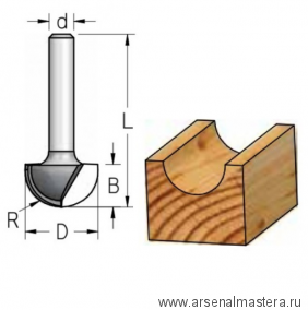 Фреза канавочная полукруглая WPW 25.4x16x50x8 R12.7 RB25005