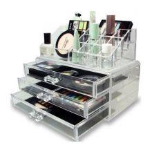 Акриловый органайзер для косметики Cosmetic Storage Box, Количество ящичков: 3