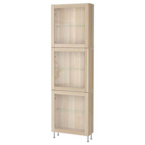 BESTA БЕСТО, Комбинация д/хранения+стекл дверц, под беленый дуб/синдвик/сталларп под беленый дуб, прозрачное стелко, 60x22x202 см - 693.019.20