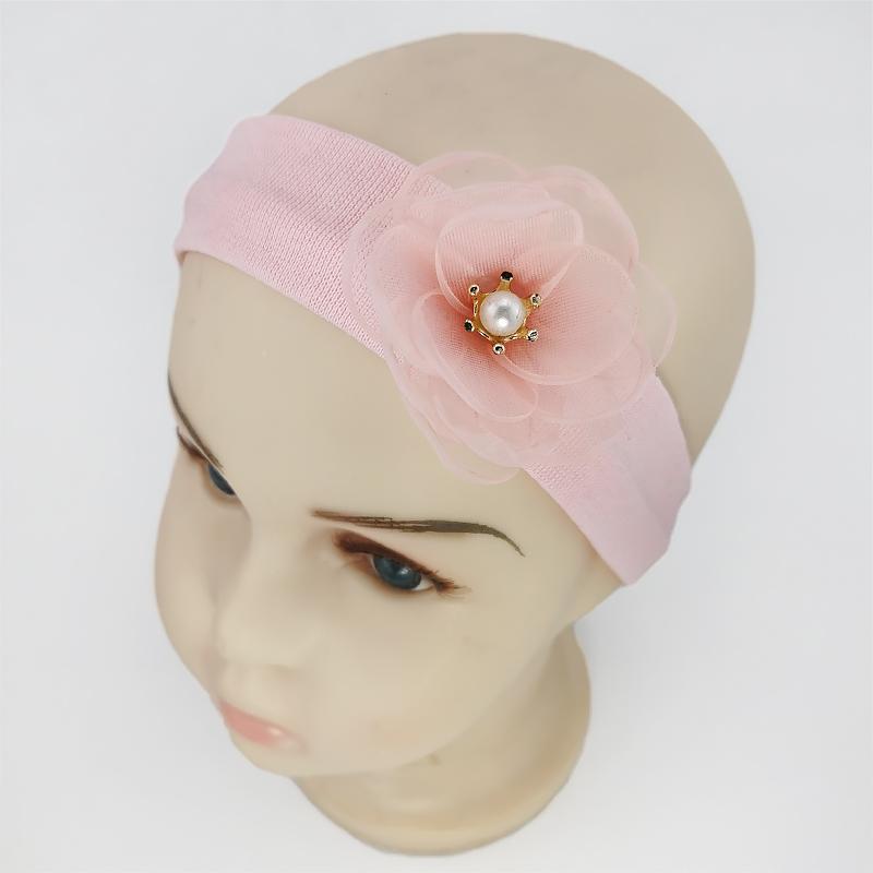 п1116-36 Повязка трикотажная узкая Цветочек нежно-розовая