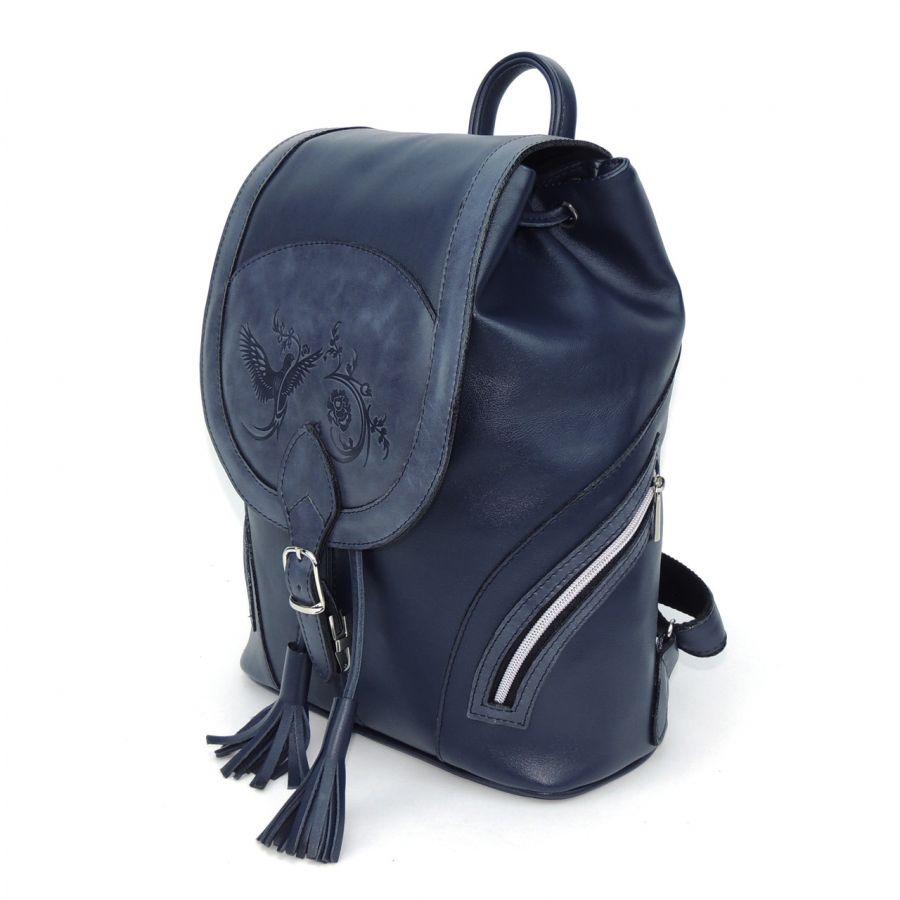 """Синий кожаный рюкзак  """"Валери"""""""