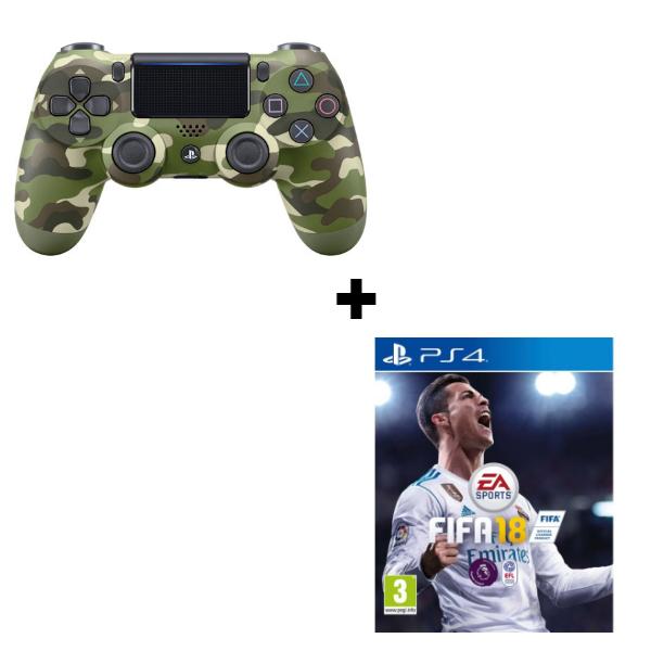 Геймпад Sony Dualshock 4 (ver.2) Green Camouflage + игра FIFA 18
