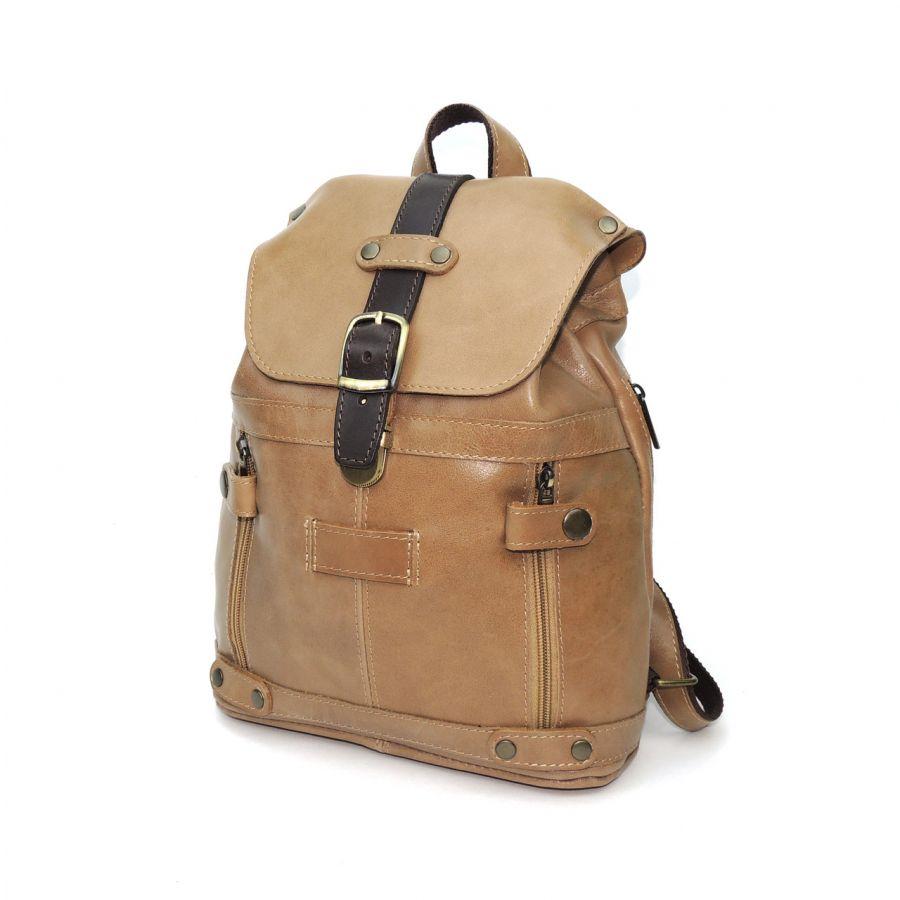 """Бежевый кожаный рюкзак  """"Клио"""""""