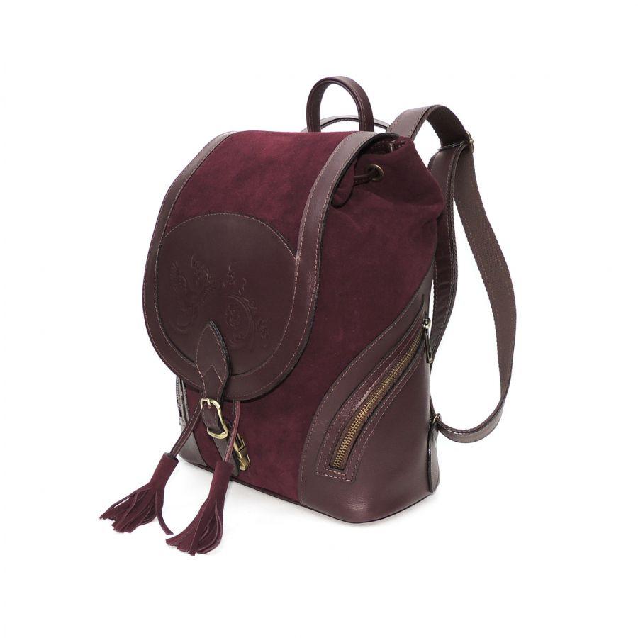 """Бордовый кожаный рюкзак из замши  """"Кашемир"""""""