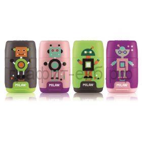 Ластик MILAN+ точилка Compact Happy Bots 4722116
