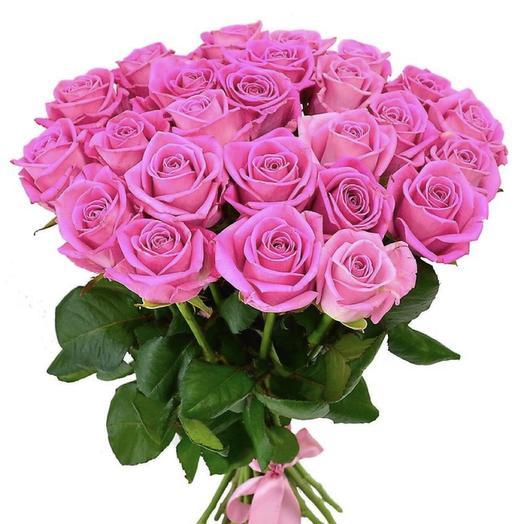 25 розовых роз 50 см