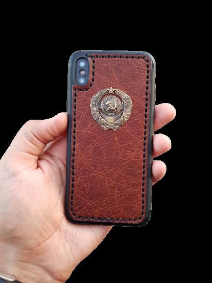 Кожаный чехол-накладка с гербом СССР на iPhone