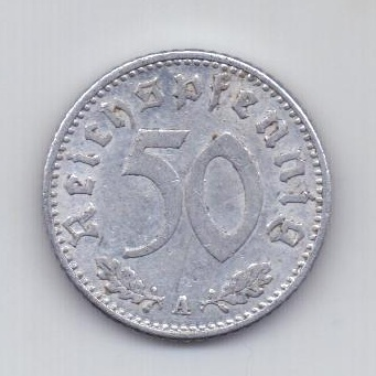 50 пфеннигов 1939 года AUNC Германия