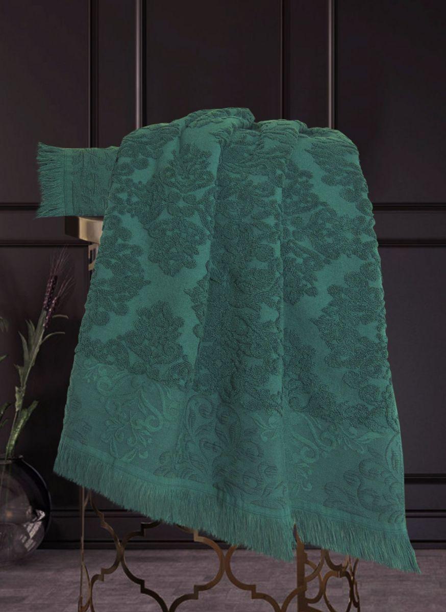 Полотенце Барокко Жаккардовый хлопок (изумруд) 50х90см