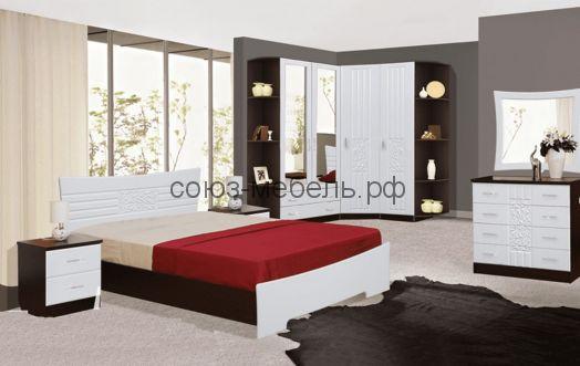 Спальня Атлантида (угол зав. №2+шкаф 2х с ящ.+шкаф угл.+пенал закр.+угол зав.№2+кровать+тумбочки 2шт+комод+зеркало)