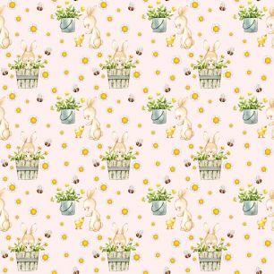 Хлопок Перкаль - Зайки и утята на пыльно-розовом 50х37