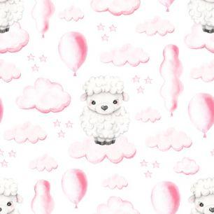 Хлопок Перкаль - Овечки в облачках на белом 50х37