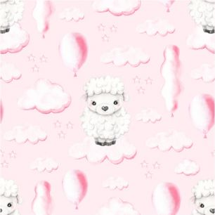 Хлопок Перкаль - Овечки в облачках на розовом 50х37