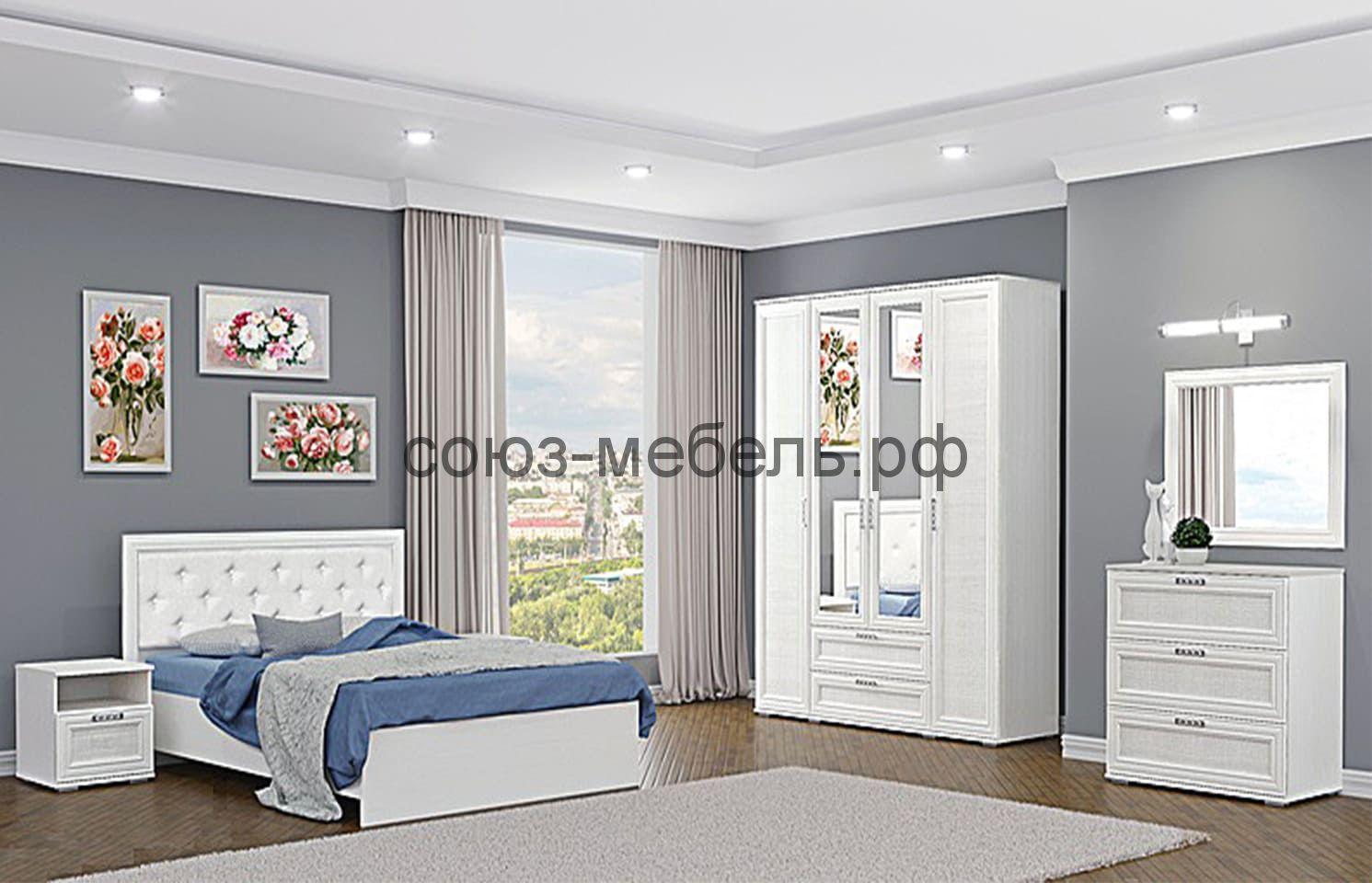 Спальня Корвет Люкс (тумба 2шт+кровать №3+шкаф 4х+комод+зеркало)
