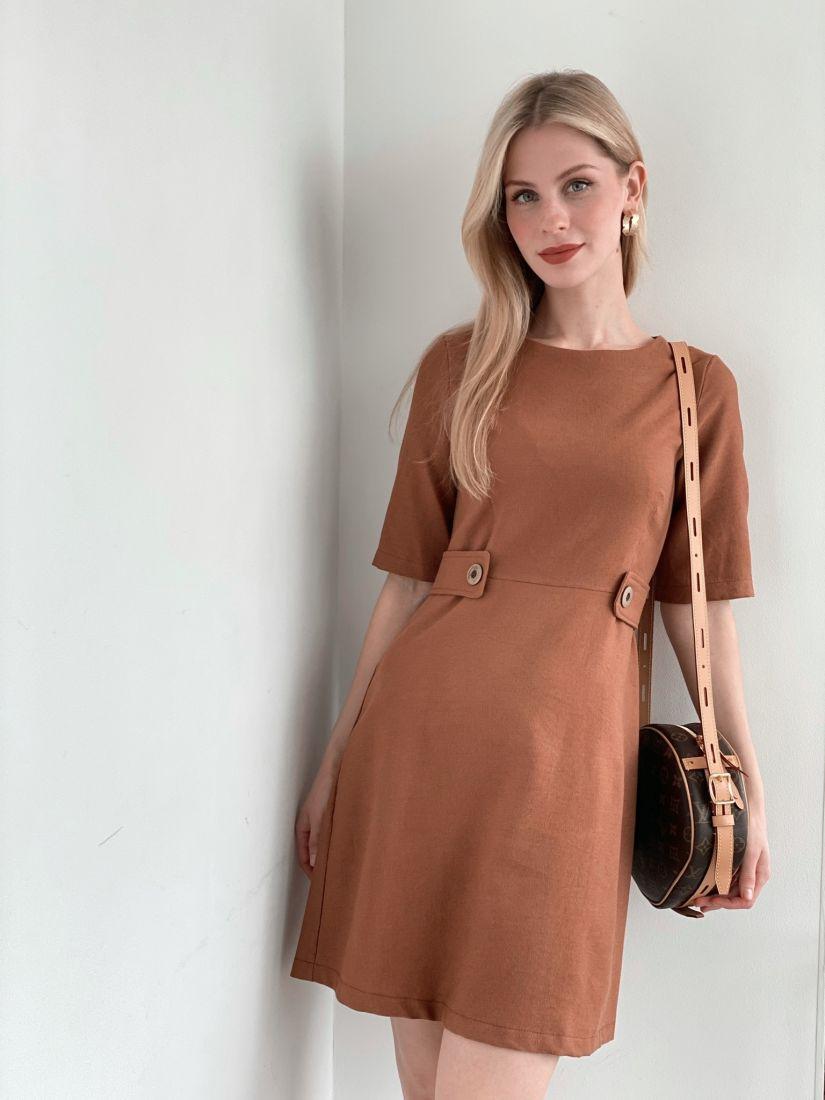 4030 Платье-мини из микровельвета в цвете camel
