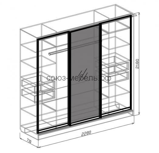 Спальня Светлана (тумба 2шт+кровать №2+шкаф-купе 3х+комод+зеркало)