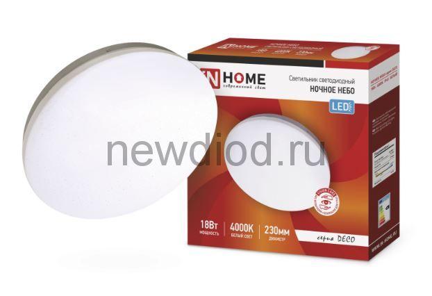 Светильник светодиодный серии DECO 18Вт 230В 4000К 1170лм 230х55мм НОЧНОЕ НЕБО IN HOME
