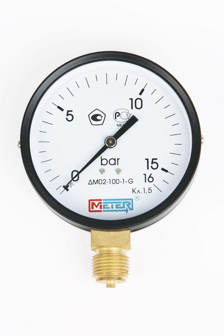 Манометр ДМ02-100 радиальный Дк100мм 0-16 кгс/см2 М20х1,5 Метер