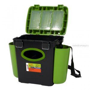 Ящик зимний рыболовный Helios FishBox, односекционный, 10л, зеленый