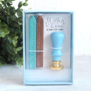 Набор для печати: Свечи и штамп с голубой рукояткой