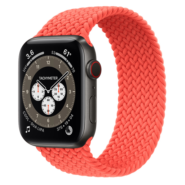 Часы Apple Watch Edition Series 6 GPS + Cellular 44mm Space Black Titanium Case with Electric Orange Braided Solo Loop
