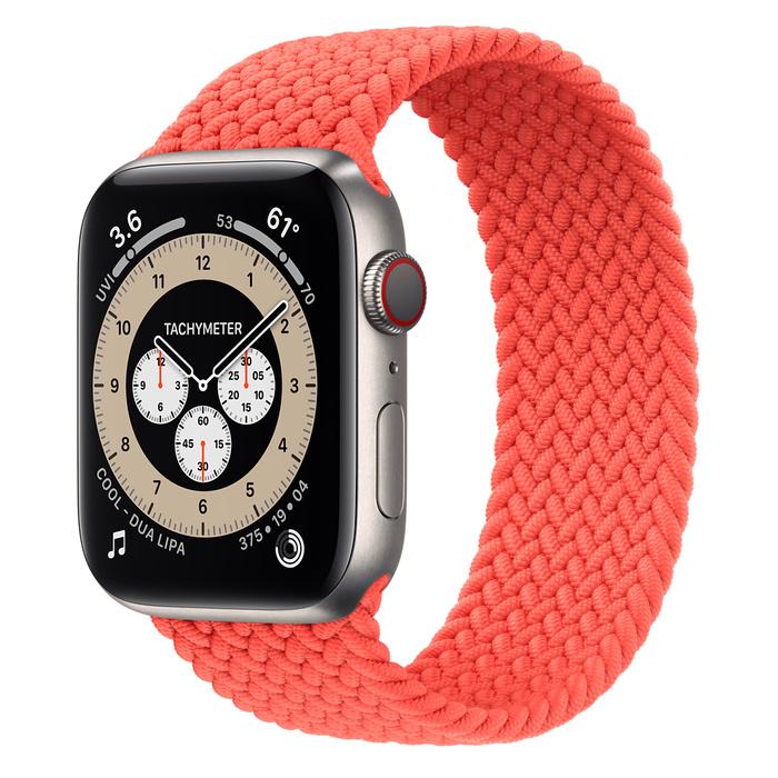 Часы Apple Watch Edition Series 6 GPS + Cellular 44mm Titanium Case with Electric Orange Braided Solo Loop