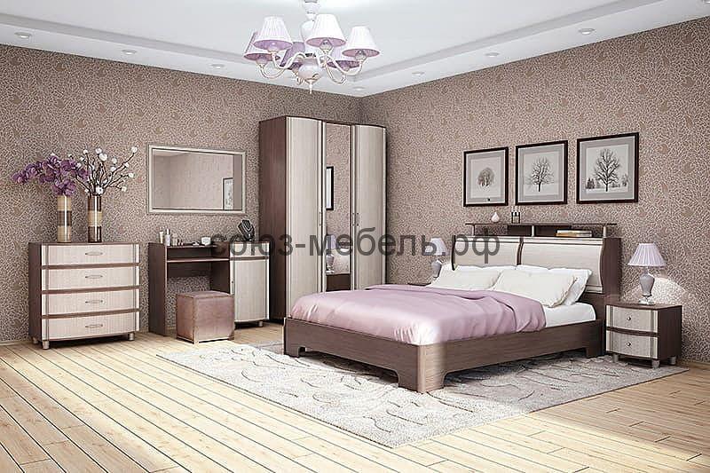 Спальня Симона (комод КМ+стол туалетный СТ+тумба ТМ 2шт+зеркало Z+кровать КР-1+шкаф ШК-Z)