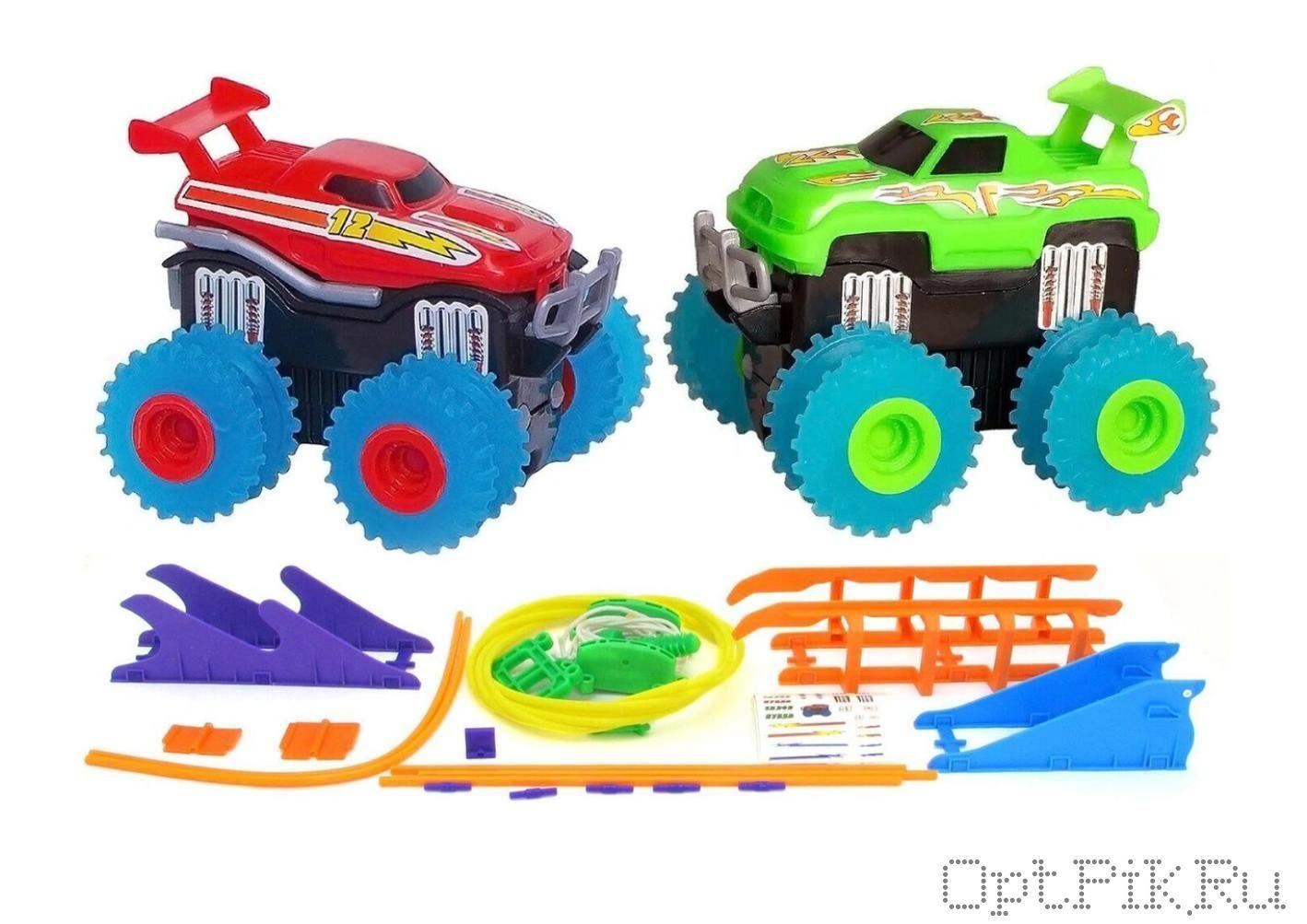 Большой трек Trix Trux Монстр-траки с двумя машинками и с препятствиями