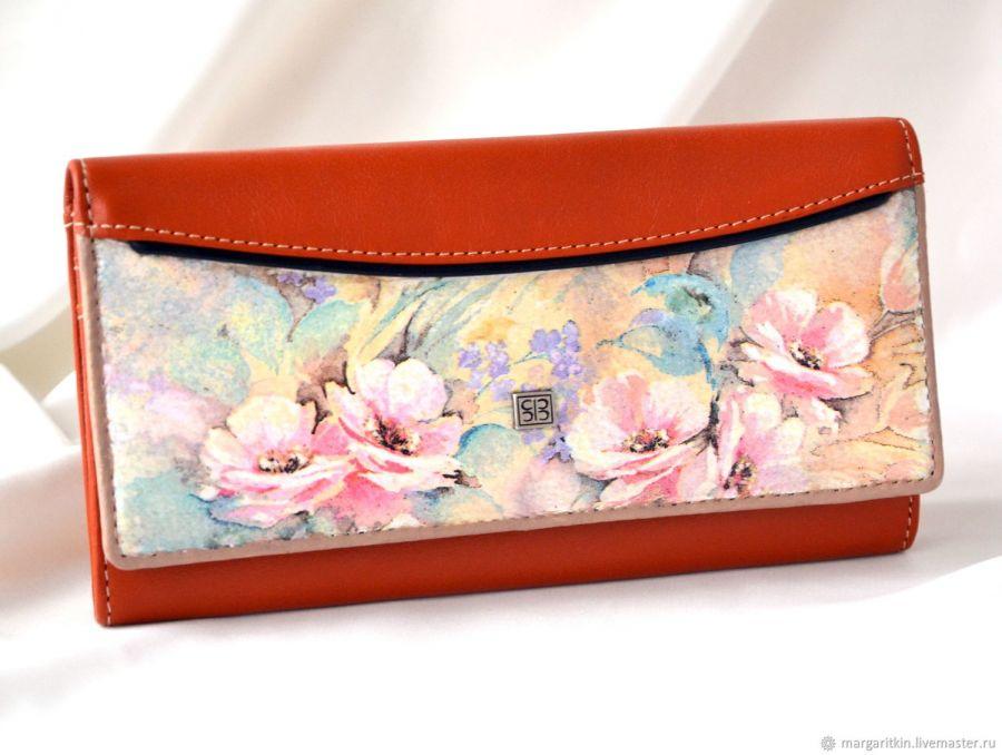 Кожаный кошелёк Pink fleur