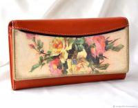 Кожаный кошелёк Винтажные розы