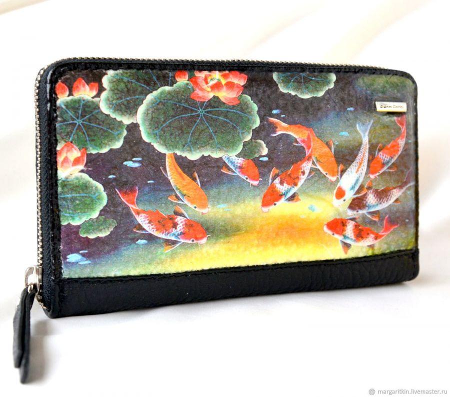 Кожаный кошелёк женский Рыбки