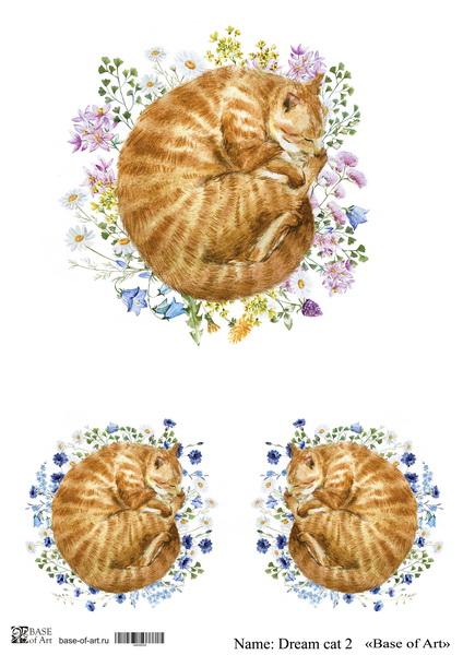 Декупажная карта Base of art, 20*30 см, Dream cat 2