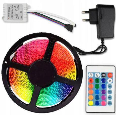 RGB (разноцветная) светодиодная лента 5 м, пульт, блок питания