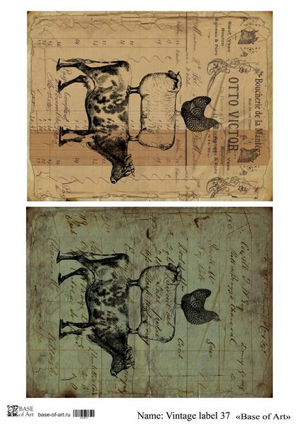 Декупажная карта Base of art, 20*30 см, Vintage label 37