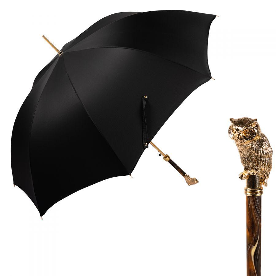 Зонт-трость Pasotti Owl Gold Oxford Black