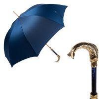 Зонт-трость Pasotti Pesce Gold Oxford Blue