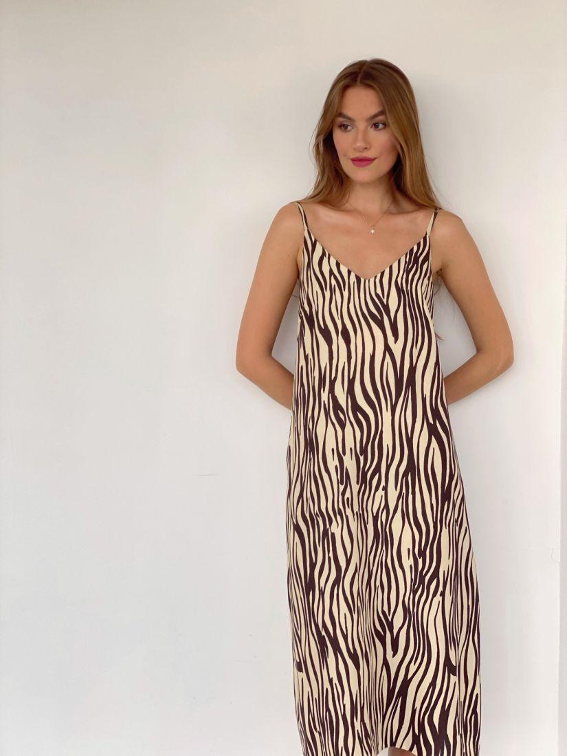 4066 Платье-комбинация с анималистичным принтом