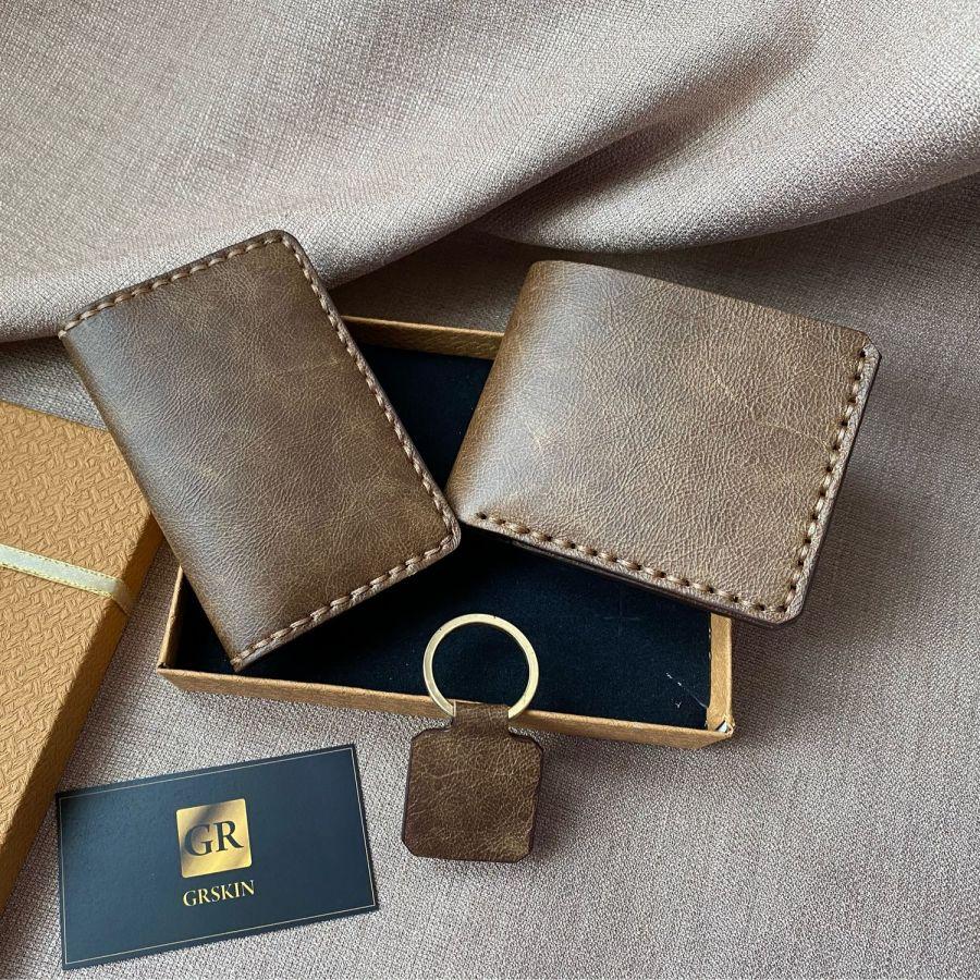 Набор Картхолдер, кошелёк, брелок из натуральной кожи ручной работы