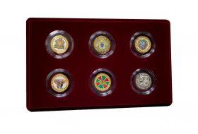 НАБОР 10+25 рублей рублей (6шт) — ПОГРАНИЧНЫЕ ВОЙСКА, цветная эмаль + гравировка