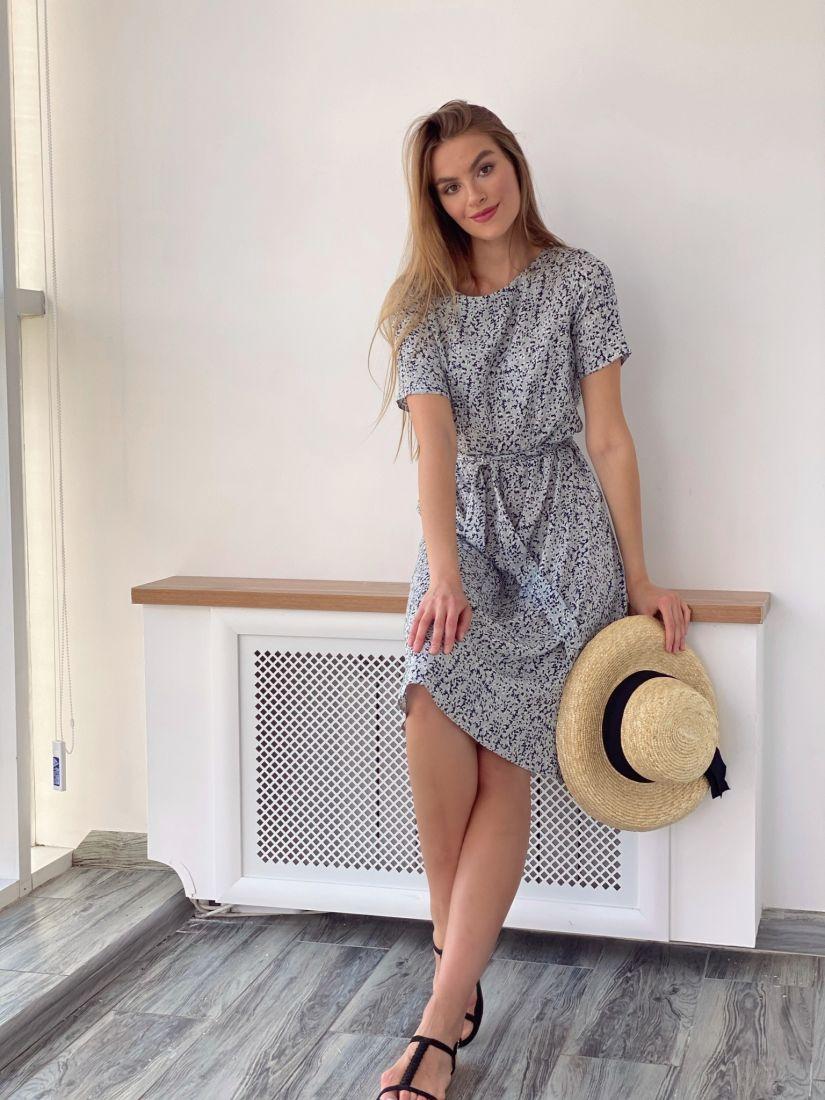 4089 Платье из хлопка с мелким принтом