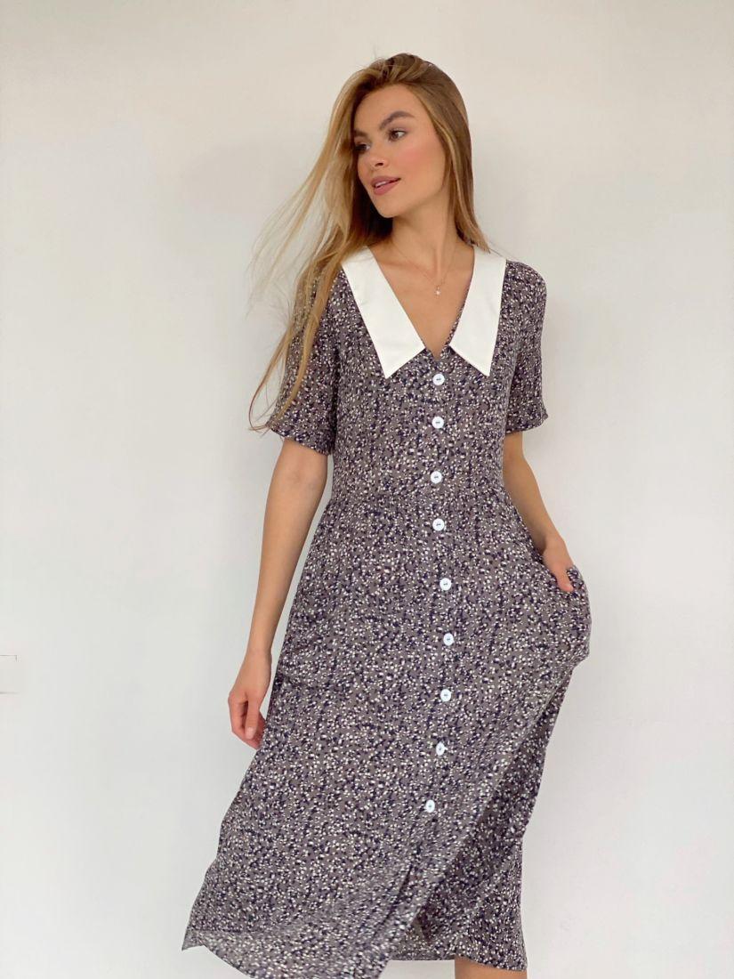 4101 Платье в ретро-стиле с графитовым принтом