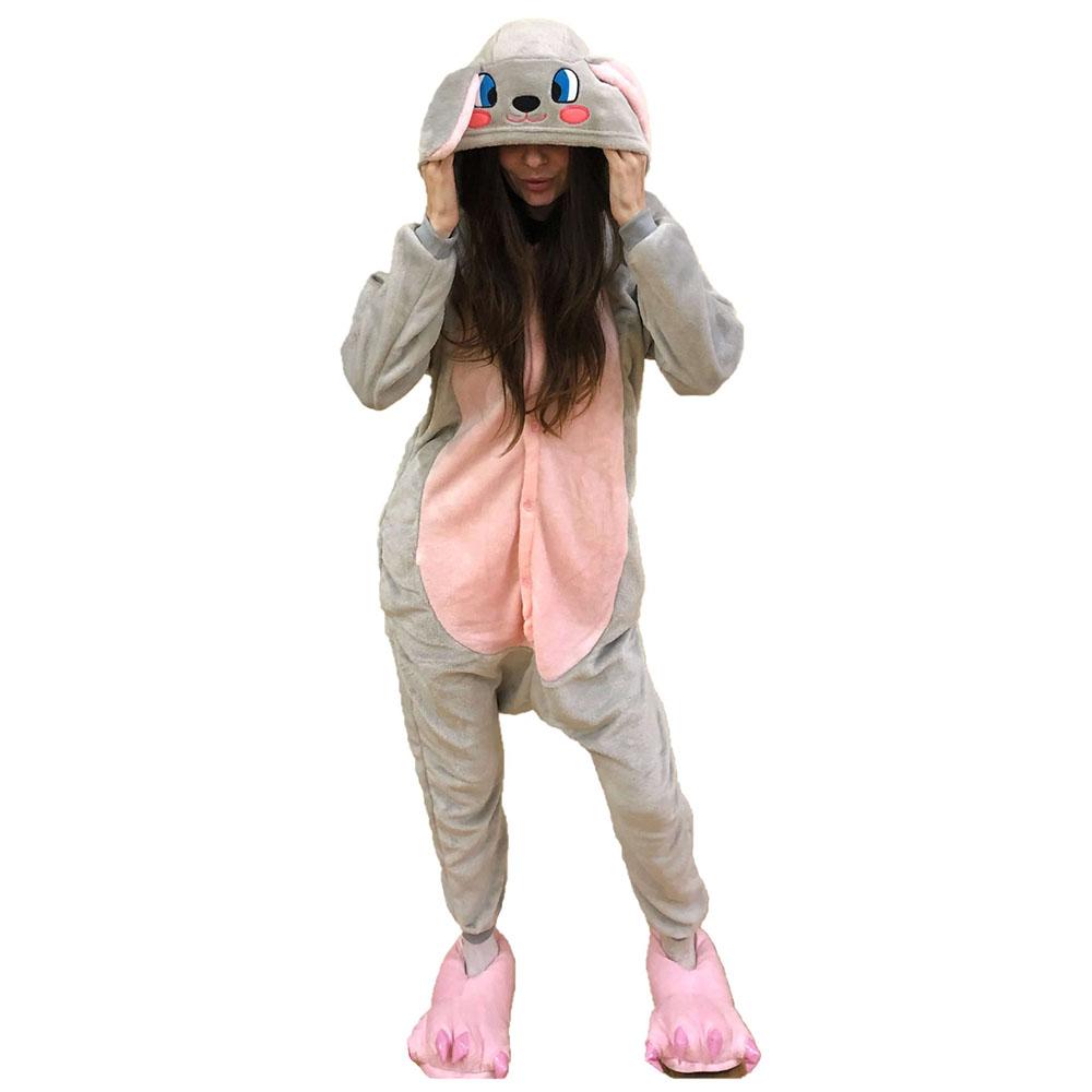 Пижама Кигуруми Заяц Серо-Розовый