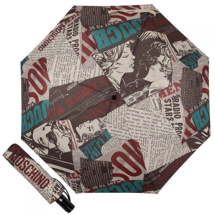 Зонт складной Moschino 8930-OCA Newspaper Black