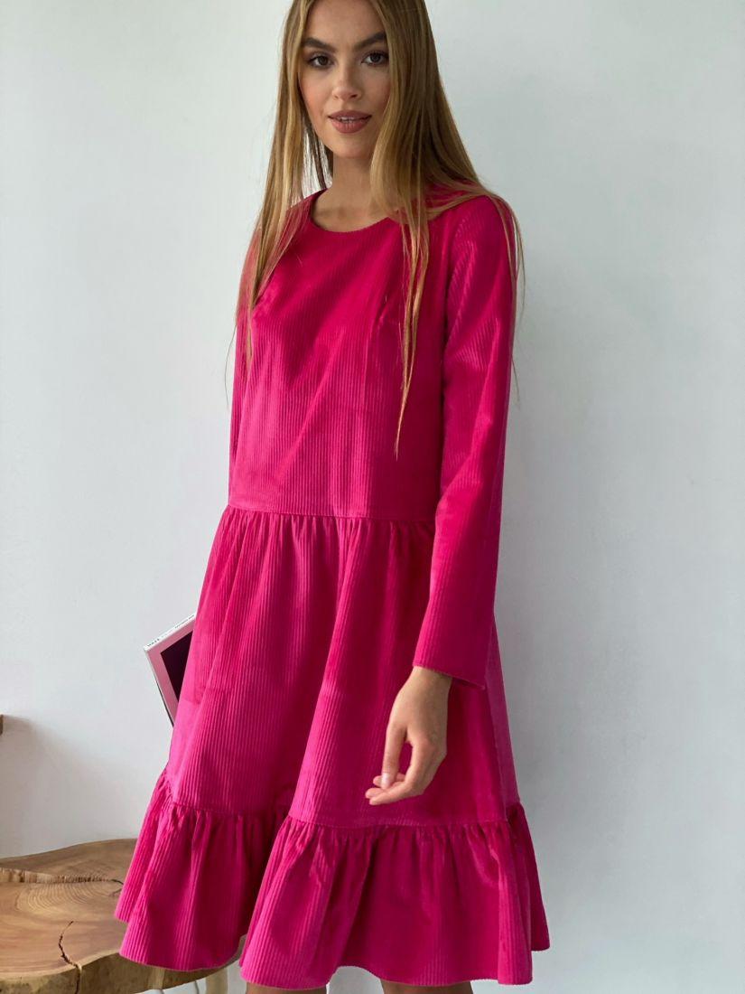 3875 Платье вельветовое с воланом ярко-розовое
