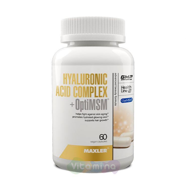 MAXLER Гиалуроновая кислота + МСМ Hyaluronic Acid + Opti MSM, 60 капсул